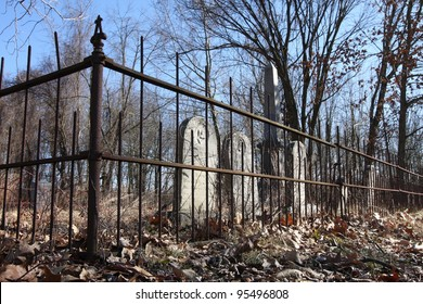 An old cemetery fenced in Plymouth Indiana