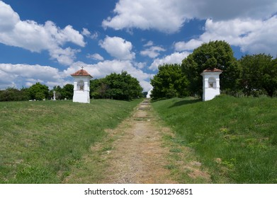 Old cemetery hill with two wayside shrines in Budajeno village which belongs to Budapest metropolitan area.