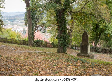 An old cemetery located in the castle in Old City. Sighisoara city in Romania
