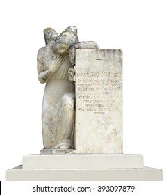 Old cemetery statue of woman on white background
