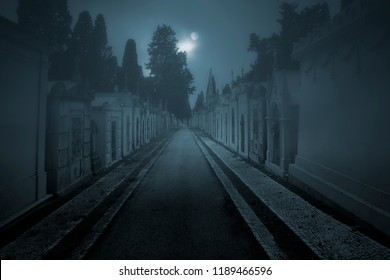 Old cemetery street in a foggy full moon night