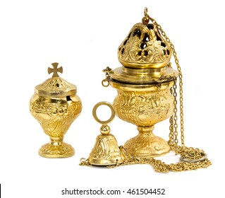 Old censer hung and thurible on  white background