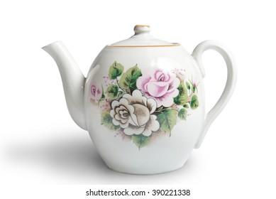 old ceramic teapot on white background