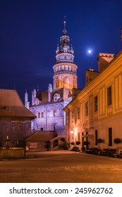 Old Cesky Krumlov castle under the moon light