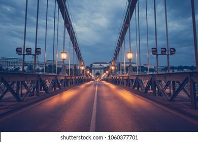 Old Chain Bridge in Budapest, Hungary Night city view