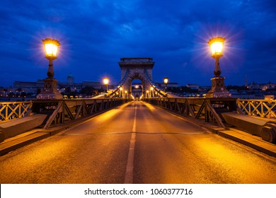 Old Chain Bridge in Budapest, Hungary Night city view