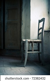 old chair in abandoned place