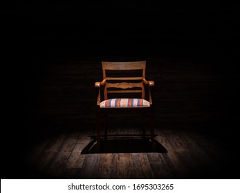 Old chair on boards, dark atmosphere.