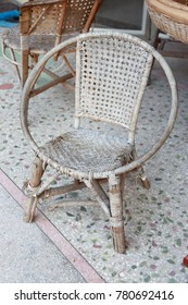 old chair weave by bamboo and straw