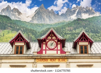 Old Chamonix train station, les Aiguilles de Chamonix in the backgound, The Alps, France