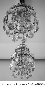 old chandelier luxury glass closeup blackwhite