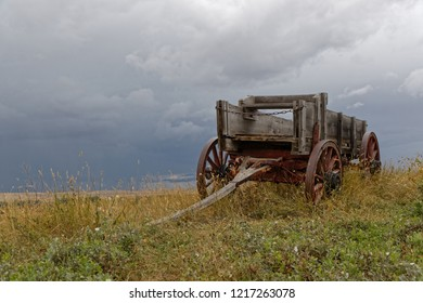 Old Chariot in the meadows near Little Bighorn Battlefield