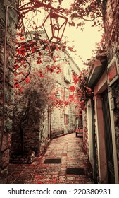 Old charming street/ Old town in Europe  with retro vintage effect