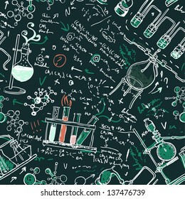 Old chemistry laboratory seamless pattern on dark green school board. Vector background. A raster illustration.
