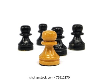 old chess figures on a white background