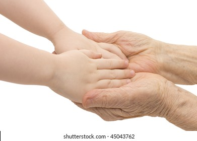 Old and children hands on a white