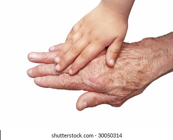 old and a children's hand on a white background