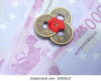 old china coins and banknotes