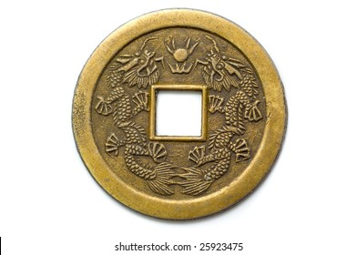Old chinese feng shui lucky coin for good fortune and success.
