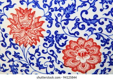 old chinese flowers pattern style painting on the ceramic bowl use for background