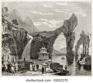 Old Chinese landscape (Thai-Hou lake). Created by Best and Leloir, published on Magasin Pittoresque, Paris, 1845