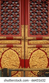 old Chinese red door