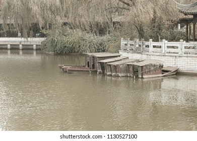 Old chinese sunken boats in the Lotus Pond (Kunming, Yunnan, China)
