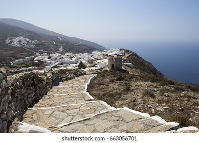 The old Chora and the new one, view from the way up to the monastery of Zoodochos Pigi, Sikinos island