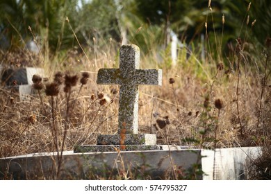 Old Christian Cross on Grave Stone Cemetery Tangier Morocco