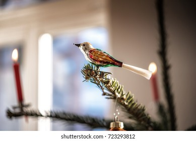 old christmas glass bird on tree in candle light