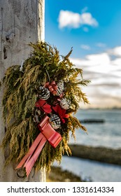 An old christmas wreath left at the South Gare. Located on the north east coast of England.