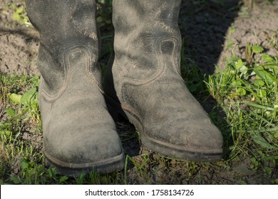 Old chrome boots. Footwear for hard work in industry or agriculture.