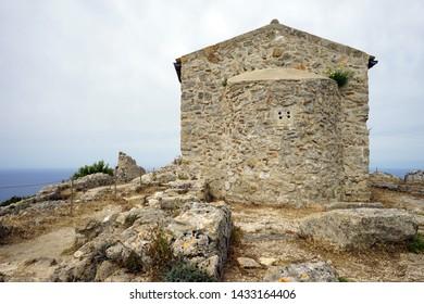 Old church in Angelokastro fortress on the east coast of Corfu island, Greece