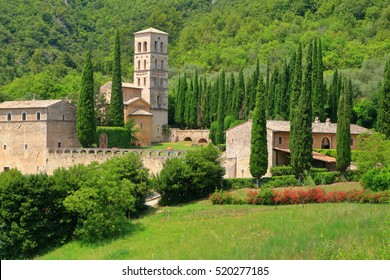 Old church building of the Abbey of San Pietro in Valle in the region of Umbria, Italy