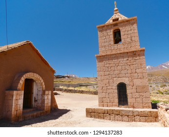 The old church, built with adobe bricks, of Socaire. The desert of Atacama in the north of Chile is the driest region on earth.