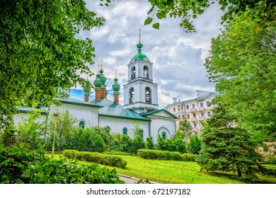 The old church in the center of the historical city of Yaroslavl, Russia.