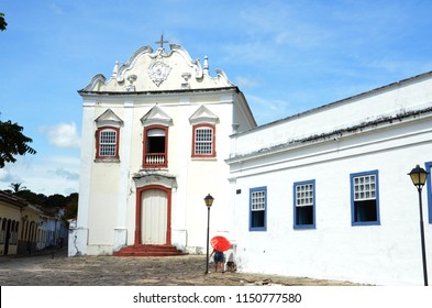 Old church in cobblestone street in Cidade de Goias Brazil