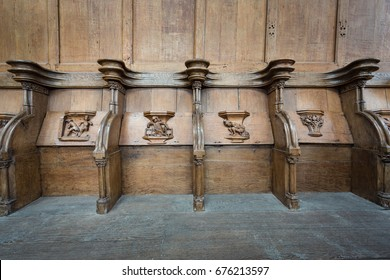 OLD CHURCH OR DE OUDE KERK, AMSTERDAM, THE NETHERLANDS - JULI 7, 2017: Old wooden a.