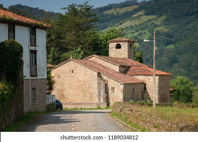 Old church of Doriga, landmark on the Camino de Santiago trail between Grado and Salas, Asturias, Spain