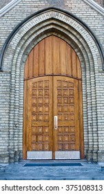 Old Church Entrance with Doors Closed
