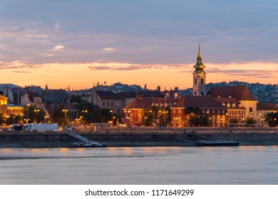 Old church and fisherman bastion at night in Budapest, Hungary
