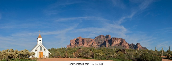 Old Church in front of Superstition Mountains.