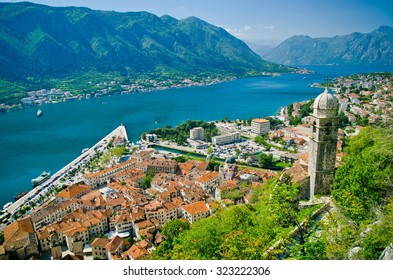 Old church inside Stari Grad, Kotor, Montenegro. Kotor bay and Old Town from Lovcen Mountain. Montenegro.