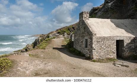 Old church on Cap de Carteret in summer, Normandy France