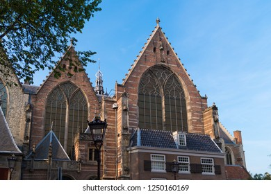 Old Church or Oude Kerk, the oldest building and oldest parish church, founded in 1213 at Amsterdam, Netherlands. It stands at De Wallen, now Amsterdam's main red-light district.