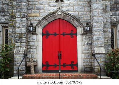 old church with red door