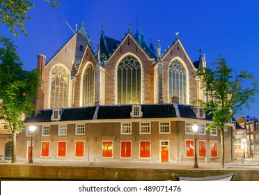 The Old Church. Red light district. Amsterdam. Netherlands.