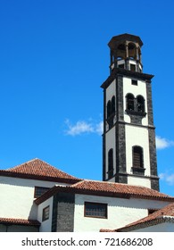 the old church in santa cruz tenerife with bell tower and blue sky
