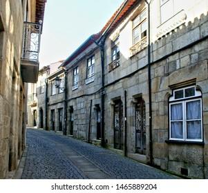 Old church street in Vila do Conde, Portugal