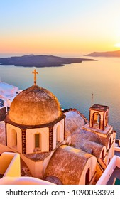 Old church in Thira town and Aegean sea at sundown, Santorini, Greece